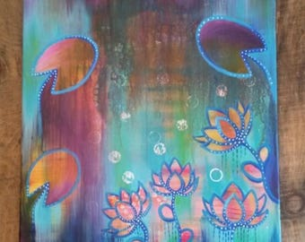 Murkey Waters, Mixed Media, Painting on Canvas