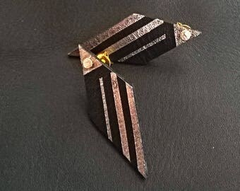 Earrings leather Marylou black and gold