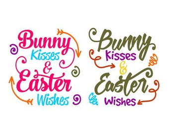 Bunny Kisses Easter Wishes Cuttable Design SVG PNG DXF & eps Designs Cameo File Silhouette