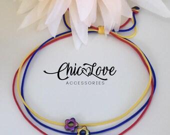 Colombian Flowers Bracelet, Colombian Bracelet, Pulsera de Colombia, Colombian Jewelry, Manilla de Colombia, Colombian Flag.