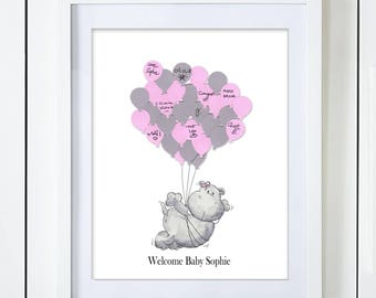 Pink Hippo Baby Shower Guest Book Alternative
