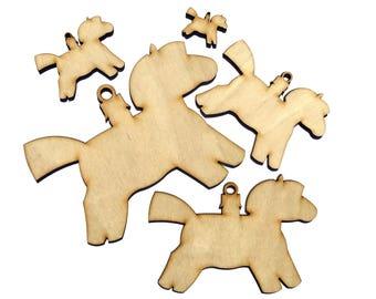 Wooden Christmas Horse Plywood Scrapbooking Embellishment Wedding Decor Gift