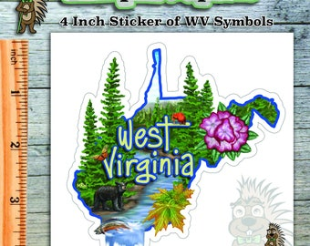 3 Sticker Deal - (Get Three) 4 Inch Stickers - Illustrated West Virginia Symbols