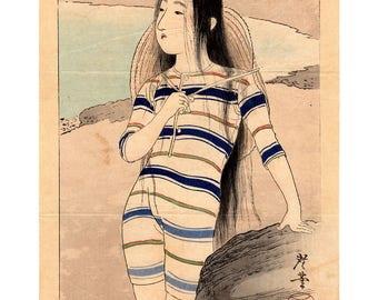 Beach girl (Terasaki Kogyo) N.1 kuchi-e woodblock print