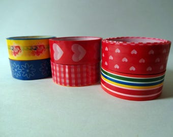 Set of 6 masking tape colorful laminated - hearts, flowers, stripes