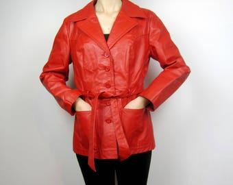 Vintage 70s red leather flared hip length jacket coat S M