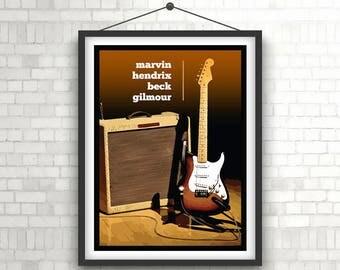 FENDER STRATOCASTER     Legends Of Tone     Guitar Art Poster Print