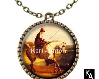 Bronze colored necklace with round pendant + chain pattern Lady rider - (694)