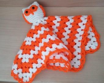 Neon orange and white hand crocheted OWL