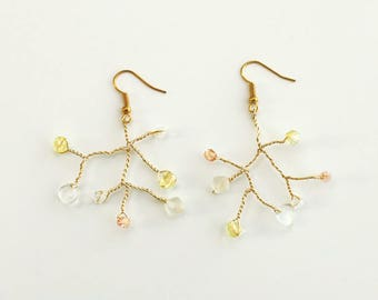 Golden lemon and pink pearls earrings