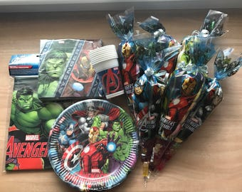 Complete Marvel Avengers Branded Party Pack - Pre-filled Party Cones & Tableware