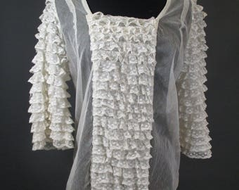 1930s net blouse with ruffled lace sleeves