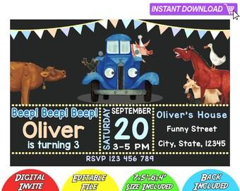 SALE 80% OFF: Little Blue Truck Invitation, Little Blue Truck Instant Download Invitation, Little Blue Truck Birthday Invitation, Blue Truck