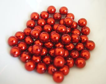 SET OF 10 6MM - RED ROUND GLASS BEADS