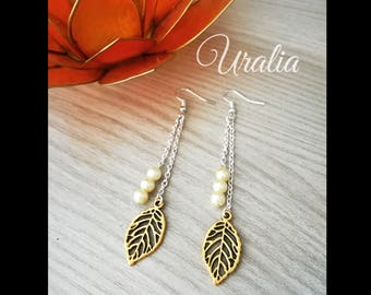 Leaf earrings and beads
