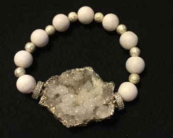 White Druzy bracelet  white and silver beads