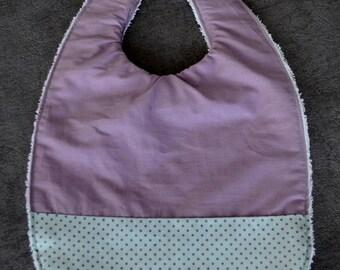 Purple bib and polka dots