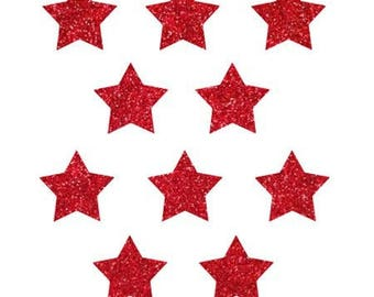 10 little stars clothing red glittery 15x15mm