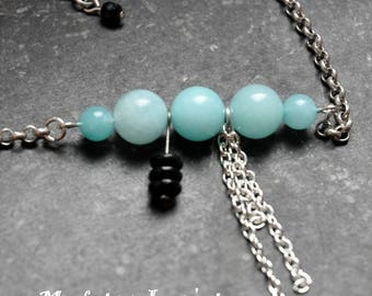 """Necklace beads and chain """"Bullettes"""" sky blue"""
