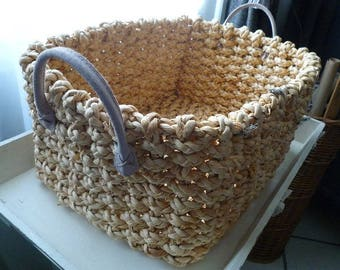 Rectangular wicker basket with soft 42 * 30