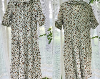 Vintage mid-length handmade floral dress with collar