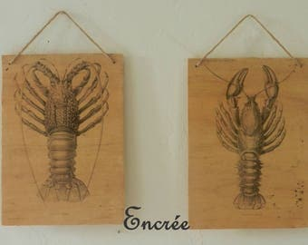 Wall decor, vintage images, prints of crustaceans on board, waxed finish