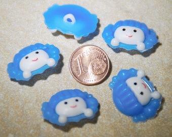 Blue button head