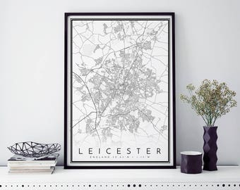 Leicester Map, Minimalist Map Print, Minimal Map, Leicester Poster, Modern Map Print, Modern map art poster in size 50x70cm fits Ikea frame