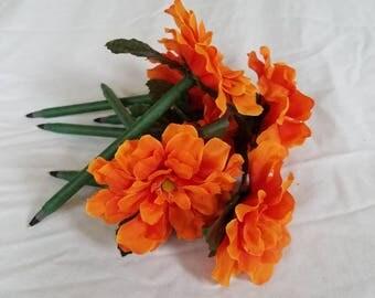 Orange Zinnia Pen Bouquet- Set of 6 pens