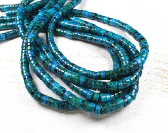 20 dyed natural chrysocolla rondelle beads approximately 6.5 x 2.5 mm LBP00712