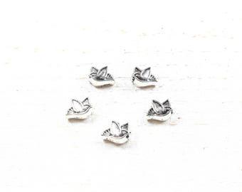 5 bird 8 x 4.5 mm x 10.5 silver colored metal beads