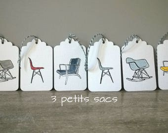 6 white paper tags, chairs and armchairs vintage