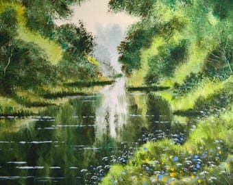 River paintings, landscape paintings, watercolour paintings, green rivers, river reflections,  english countryside, british countryside,.