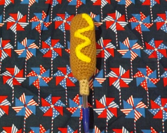 Crocheted Corn Dog Pen Topper (Comes with Pen)