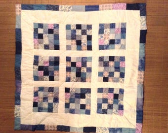 Handmade quilted patchwork blue and white Plaid