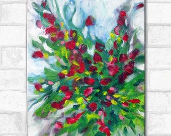 The bouquet, red flowers on white background