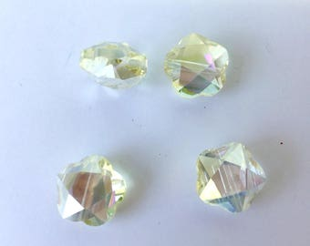 1 hexagonal Crystal champagne color Pearl many reflections light AB 14 x 14 mm (D31)