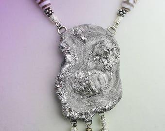 Platinum Titanium Rosette Drusy necklace