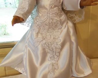 Gorgous white satin and lace wedding dress