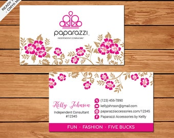 Paparazzi Business Card, Custom Paparazzi Accessories Business Card, Fast Free Personalization, Printable Business Card PZ01