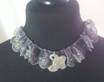 Lace necklace with ceramic pendant