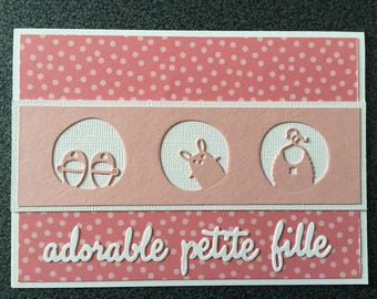 Congratulations card for the birth of a girl, adapts in birth announcement / christening or birthday card.