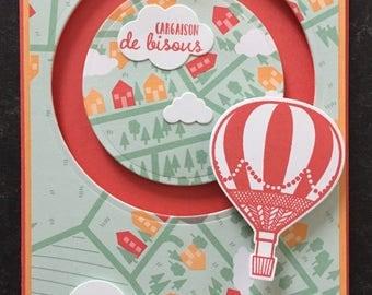 "Card hot air balloon mobile (""spinner card"") for a birthday"