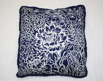 Vintage 80s Japanese Cushion Cover Pillow Case Navy Blue White Size 19.50x21.50