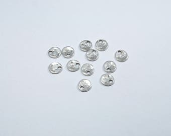 Set of 12 small hammered silver metal round charms