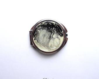 Ivory and black round Pocket mirror