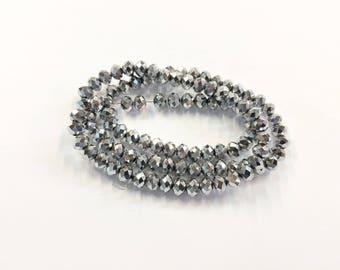 100 donuts beads faceted 6x4mm glass silver jewelry designs