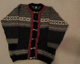 Vintage Norwegian Fair Isle Cardigan Wool Sweater by Norwool