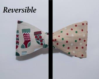 Stockings/Polkadots Reversible Self-tie Bow Tie