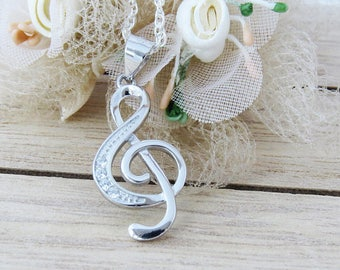Music Note Necklace, 925 Sterling Silver Music Note Necklace, Musician Gift, Music Lover Pendant, Treble Clef Necklace, Graduation Gift